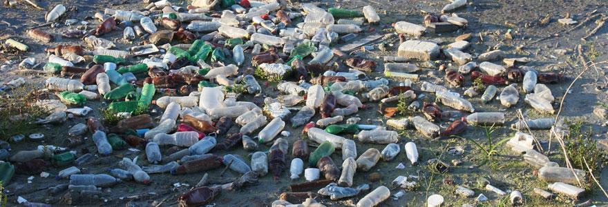 Pollution de bouteilles en plastique sur une plage
